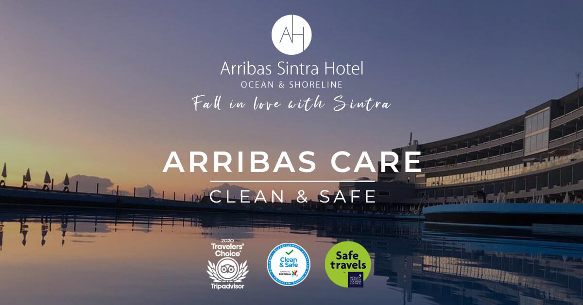 Arribas Sintra Hotel subscreveu a declaração de estabelecimento Saudável e Seguro. Turismo de Portugal valida o nosso estrito cumprimento das recomendações da Direção-Geral da Saúde
